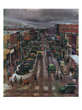 """Falls City, Nebraska at Christmas,"" December 21, 1946 Giclée-Druck von John Falter"