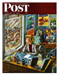 """Travel Agent at Desk,"" Saturday Evening Post Cover, February 12, 1949 Giclee Print by Constantin Alajalov"