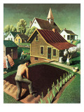 """Re print of ""Spring 1942"","" April 18, 1942 Reproduction procédé giclée par Grant Wood"