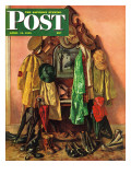 &quot;Loaded Coat Rack,&quot; Saturday Evening Post Cover, April 14, 1945 Giclee Print by John Atherton