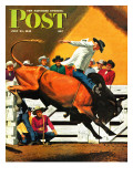 """Bull Riding,"" Saturday Evening Post Cover, July 21, 1945 Lámina giclée por Fred Ludekens"
