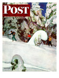 """Cross Country Skiers,"" Saturday Evening Post Cover, February 2, 1946 Giclee Print by Mead Schaeffer"