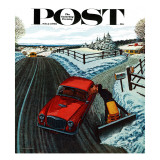 """Kiss At the End of the Driveway,"" Saturday Evening Post Cover, February 24, 1962 Giclee Print by James Williamson"