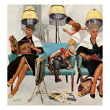 """Cowboy Asleep in Beauty Salon,"" May 6, 1961 Giclee Print by Kurt Ard"