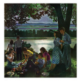 &quot;Evening Picnic,&quot; June 4, 1949 Giclee Print by John Falter