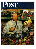 """Shoe Repairman,"" Saturday Evening Post Cover, March 20, 1948 Giclee Print by Stevan Dohanos"