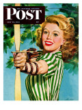 """Woman Archer,"" Saturday Evening Post Cover, July 22, 1944 Reproduction procédé giclée par Alex Ross"