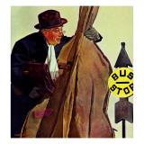 """""""Bass Fiddle at Bus Stop,"""" January 22, 1944 Reproduction procédé giclée par Howard Scott"""