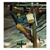 """Telephone Lineman,"" January 10, 1948 Gicleetryck av Mead Schaeffer"