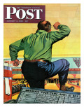 """Bowling a Split,"" Saturday Evening Post Cover, January 6, 1945 Giclee Print by Stan Ekman"