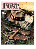 &quot;Fishing Still Life,&quot; Saturday Evening Post Cover, April 15, 1944 Giclee Print by John Atherton