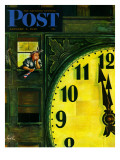 """Giant Clock on New Year's Eve,"" Saturday Evening Post Cover, January 1, 1949 Giclee Print by Constantin Alajalov"