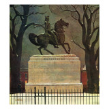 """Statue of Washington on His Horse,"" February 22, 1947 Giclee Print by John Atherton"