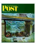 """Convertibles Take Cover in Rain,"" Saturday Evening Post Cover, September 15, 1962 Giclee Print by John Falter"