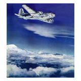 """Flight Above Clouds,"" August 17, 1940 Giclee Print by Clyde H. Sunderland"