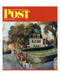 """Walking Home in the Rain,"" Saturday Evening Post Cover, October 20, 1962 Giclee Print by John Clymer"