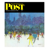"""Ice Skating in Central Park,"" Saturday Evening Post Cover, January 5, 1963 Giclee Print by Frank Mullins"