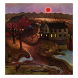 """Nighttime Farm Landscape,"" January 12, 1946 Giclee Print by John Falter"