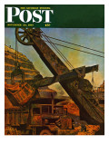 """Mining for Ore,"" Saturday Evening Post Cover, November 22, 1947 Giclee Print by John Atherton"