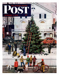 """Tree in Town Square,"" Saturday Evening Post Cover, December 4, 1948 Stampa giclée di Stevan Dohanos"