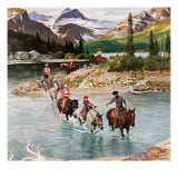 """Horseback Riding in Glacier Park,"" July 30, 1960 Giclee Print by John Clymer"