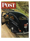 """Policeman with Flat Tire,"" Saturday Evening Post Cover, March 24, 1945 Giclee Print by Stevan Dohanos"