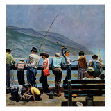 """Pier Fishing,"" August 13, 1949 Giclee Print by John Falter"