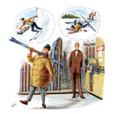 &quot;New Skier,&quot; March 4, 1961 Giclee Print by Constantin Alajalov