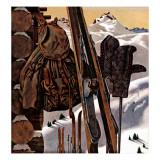 """Stilleven met skiuitrusting"" 3 februari 1945 Gicléedruk van John Atherton"