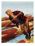 """Log Rolling,"" December 11, 1943 Giclee Print by Fred Ludekens"