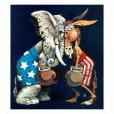 """Democrats vs. Republicans,"" July/Aug 1980 Giclée-tryk af BB Sams"