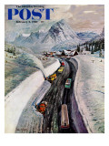 """Snowplows at Snoqualmie Pass,"" Saturday Evening Post Cover, February 6, 1960 Giclee Print by John Clymer"