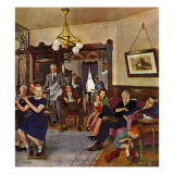 """""""Thanksgiving Flute Performance,"""" November 30, 1946 Gicléedruk van John Falter"""
