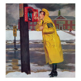"""Crossing Guard Fixing Her Makeup,"" December 3, 1960 Giclee Print by Richard Sargent"
