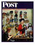 """Millinery Shop,"" Saturday Evening Post Cover, March 10, 1945 Giclee Print by John Falter"