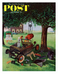 """Working on the Jalopy,"" Saturday Evening Post Cover, July 15, 1961 Giclee Print by George Hughes"