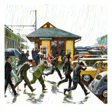 """Commuters in the Rain,"" October 7, 1961 Giclee Print by John Falter"