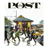 """Commuters in the Rain,"" Saturday Evening Post Cover, October 7, 1961 Giclee Print by John Falter"