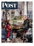 """Grandpa's Workshop,"" Saturday Evening Post Cover, November 12, 1949 Giclee Print by Stevan Dohanos"