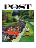 &quot;Speeder on the Median,&quot; Saturday Evening Post Cover, June 2, 1962 Giclee Print by Richard Sargent