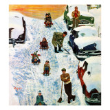 """Sledding and Digging Out,"" January 28, 1961 Giclee Print by Earl Mayan"