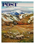 """Sheep Ranch,"" Saturday Evening Post Cover, March 18, 1961 Giclee Print by John Clymer"