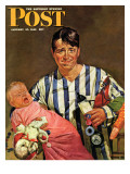 """Early Morning Feeding,"" Saturday Evening Post Cover, January 27, 1945 Giclee Print by Howard Scott"
