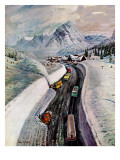 """Snowplows at Snoqualmie Pass,"" February 6, 1960 Giclee Print by John Clymer"
