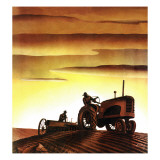 """Tractors at Sunset,"" October 3, 1942 Giclée-Druck von Arthur C. Radebaugh"