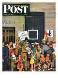 """Track 11,"" Saturday Evening Post Cover, June 21, 1947 Giclee Print by Stevan Dohanos"