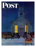 """Rural Church at Night,"" Saturday Evening Post Cover, December 30, 1944 Giclee Print by Mead Schaeffer"