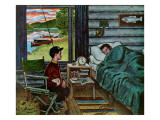 """Dad, the Fish are Biting,"" August 25, 1962 Giclee Print by Amos Sewell"