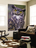 Great Horned Owl Wall Mural by Janis Miglavs