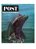 """Trained Dolphin,"" Saturday Evening Post Cover, January 4, 1964 Giclee Print by Elgin Ciampi"